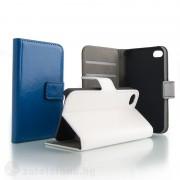 Кожен калъф тип портмоне с гладка кожа за iPhone 4/4s