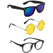 SO SHADES OF STYLE Round, Wayfarer, Retro Square Sunglasses(Blue, Yellow, Clear)