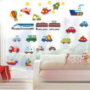TipTop Wall Stickers Colorful Bil & Train & Truck Design Löstagbar