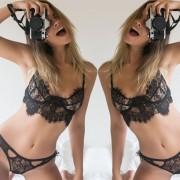 EH Mujeres Sexy Ropa De Dormir Vestido Ropa Interior Lenceria De Encaje-Negro