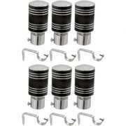 Hans Enterprise Black Set of 6 Stainless Steel Single Curtain Rod Bracket pack of 12