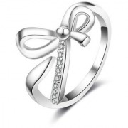 Fashionista Bow Design Zircon Adjustable Ring For Women & Girls