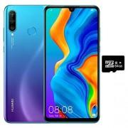 Huawei P30 Lite (128 GB, 4 GB de RAM) 6.15 pulgadas visualización, AI Triple Cámara, 32 MP Selfie, Dual SIM US + latino 4G LTE GSM desbloqueado de fábrica MAR-LX3A Versión internacional, 128GB + 64GB SD Bundle, Azul (Peacock Blue)