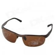 OUMILY Hombres UV 400 Proteccion Polarized Tawny lente Gafas de sol -Brown