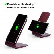 A8 10W Fast Charge Qi Wireless Charging Charger Stand Wooden for iPhone 8/8 Plus/Samsung Galaxy S8/S7/S6 Etc - Wine Red
