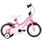 """vidaXL Bicicleta de criança roda 12"""" branco e cor-de-rosa"""