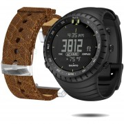 Suunto Core Wrist-Top Computer Watch With Spare Replacement Band Bundle All Black With Brown Leather Replacement Band