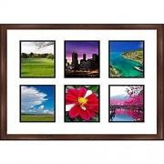 """Frames by Mail multimat-58655-610 Six Square Opening Collage Frame for 5"""" x 7"""" Photo, Walnut"""