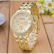 Ceas de mana auriu cu cristale