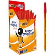 BIC Cristal Original Fine Ballpoint Pen 0.3 mm Red Pack of 50
