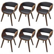 vidaXL Dining Chairs 6 pcs with Bentwood Frame