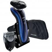 Aparat de barbierit Philips RQ1187/45, Wet & Dry, Acumulator, 2 capete, Trimmer nas & barba, Negru/Albastru