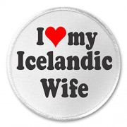 "A&T Designs I love my Icelandic Wife 3"" Sew On Patch Iceland Denmark"