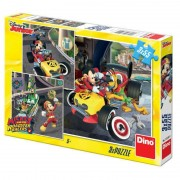 Puzzle 3 in 1 Cursa lui Mickey Mouse, 3 x 55 piese, 5-7 ani