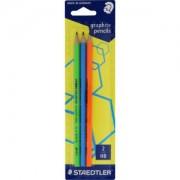 Staedtler neon Bleistift, HB, Graphitstift mit ergonomischer Soft-Oberfläche, 1 Packung = 3 Stück, farbig sortiert