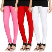 HRINKAR LIGHT PINK RED WHITE Soft Cotton Lycra Plain girls leggings combo Pack of 3 Size - L XL XXL - HLGCMB0812-L