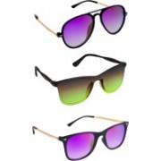 TheWhoop Wayfarer, Oval Sunglasses(Violet, Green)