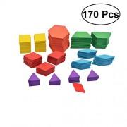 170Pcs Children Puzzle Toy Colorful Jigsaw Tangram Wooden Preschool Shape Puzzle Classic Fun Creative Educational Toys