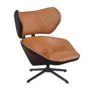 KH Fotel COMFORT brązowy - ekoskóra, metal