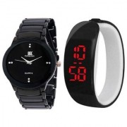 IIk Collection Black Men And Black Led Kada Women Couple Analog Watches For Men And Women
