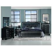 Home Elegance 1916BK-5PC 5 pc allura collection black embossed alligator finish wood bedroom set with led trim