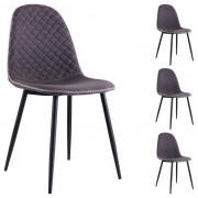 IDIMEX Lot de 4 chaises RENA, en tissu gris foncé