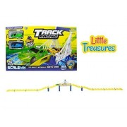 Track Racing Race Tracks Over A Magnificent City Bridge Includes 2 Stylish Super Fast Pull Back Cars Go! Go! Children Love This Toy! Great Gift Set For Boys And Girls
