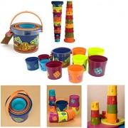 B.Toys - BAZILLION BUCKETS - Nested Plastic Buckets - 10 Stacking Buckets, For the Beach, The Bath, The Sandbox