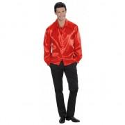 Merkloos Rood satijnen shirt voor heren
