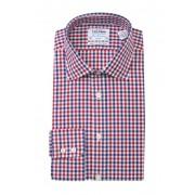 TM LEWIN Block Check Slim Fit Dress Shirt NAVY RED