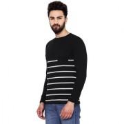 Hypernation Striped Men's Round Neck Black White T-Shirt.....hypm01315