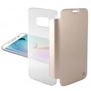 Capa com Cobertura Ksix para Samsung Galaxy S 6 Edge - Transparente / Dourado