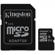 Kingston MicroSDHC 16GB memóriakártya Class10 UHS-1, SD adapterrel