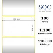 Etichette SQC - Carta patinata (bobina), formato 100 x 60