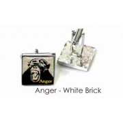 Tyler & Tyler Stencilart 7 Deadly Sins White Brick Cufflinks Anger