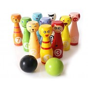 AdiChai Wooden Bowling Set for Kids with Bowlings Bowls and Pins - Eco Friendly Wooden Toy