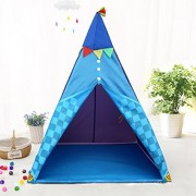 Indian Teepee Kids Tent w/Floor - Children Indoor Teepee Play Tent w/ LED Lantern Lights + Birthday Gifts For Boys/Girls/Toddlers - Blue Playing Tent Furniture/ D cor Ideas/ Room Decorations by Mehousa