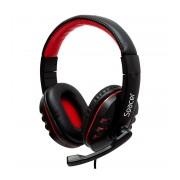 Casti stereo Spacer SPK-203 cu microfon, negre cu accente rosii