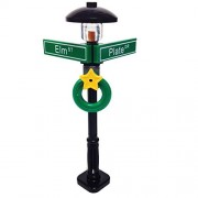Lego Minifigure Holiday City/Town Street Sign and Lamp Post - Corner of Plate & Elm