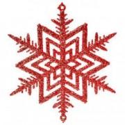 Decoratiune Craciun rosu fulg stea sclipici