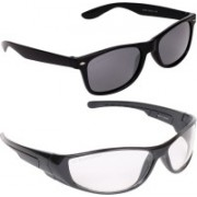 Aligatorr Wayfarer, Wrap-around Sunglasses(Grey, Clear)