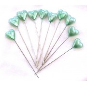 10 GREEN PEARL HEART LAPEL PINS FOR CORSAGE'S, ETC