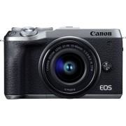 Canon - EOS M6 Mark II Mirrorless Camera with EF-M 15-45mm Lens and EVF-DC2 Viewfinder - Silver