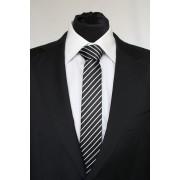 Pánská černá slim kravata s bílými pruhy - 6 cm