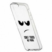 Husa Silicon Transparent Slim Dont Touch My Phone Apple iPhone 5 5S SE