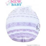 NEW BABY Pletená čepička-šátek New Baby kočička fialová