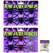 Bundle: 12 count Mini Hairy Spiders Assorted Colors and FREE Pack of Spider Web (Comes with Free How to Live Stress Free Ebook)