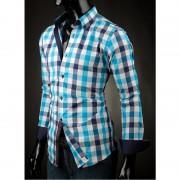 Pánská košile Victorio modrá kostka Victorio V102-M