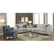 2 pc Cranson collection putty linen like fabric upholstered sofa and love seat set with nail head accents