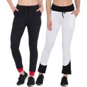 Cliths Women's Track Pant Pack of 2 /Black Red White Black Cotton Designer Jogger Pant For Women